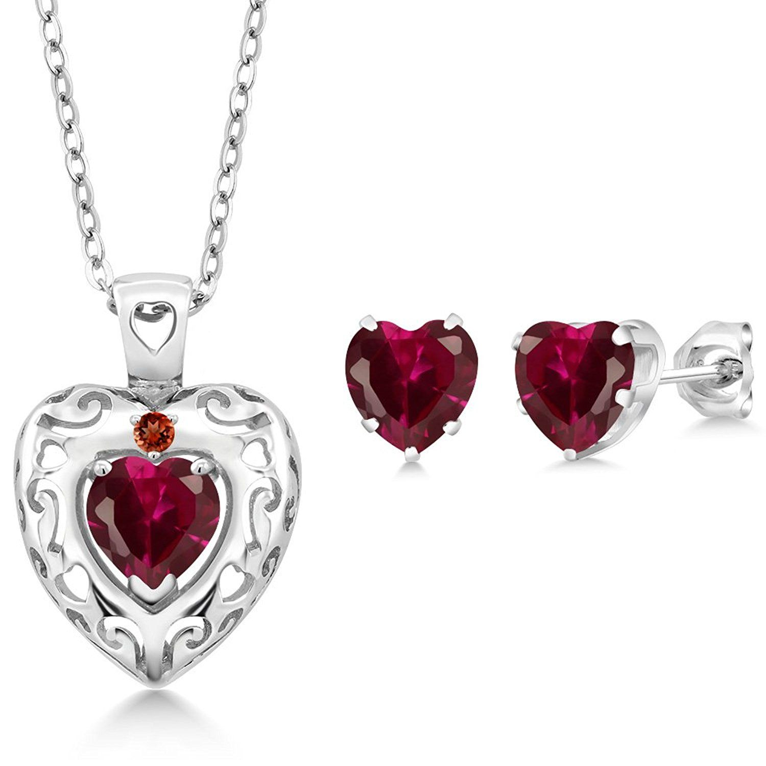 ct red created ruby red garnet sterling silver pendant