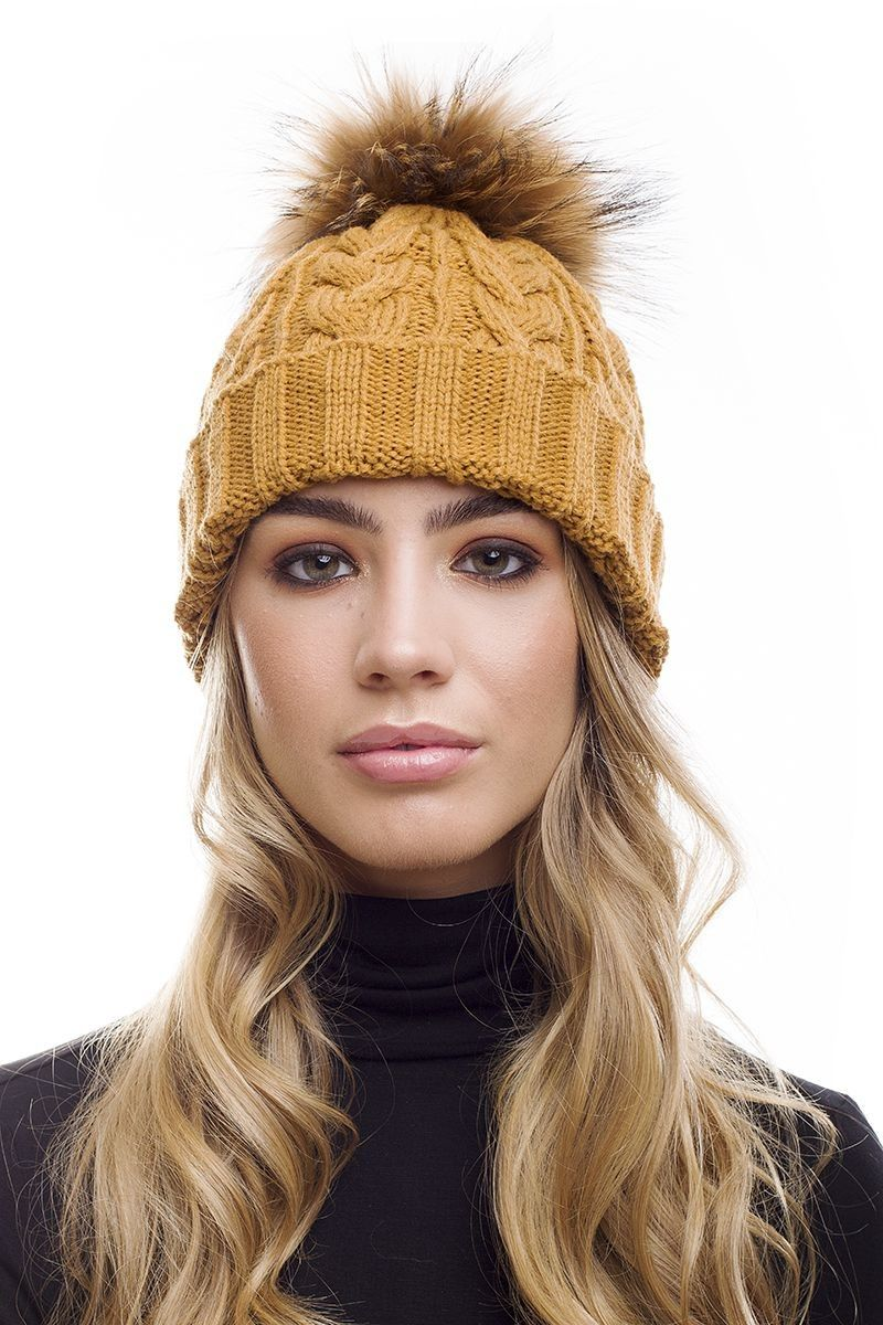 871579afb Caramel Raccoon Fur Pom Pom Bobble Hat … | Knitty | Bobbl…