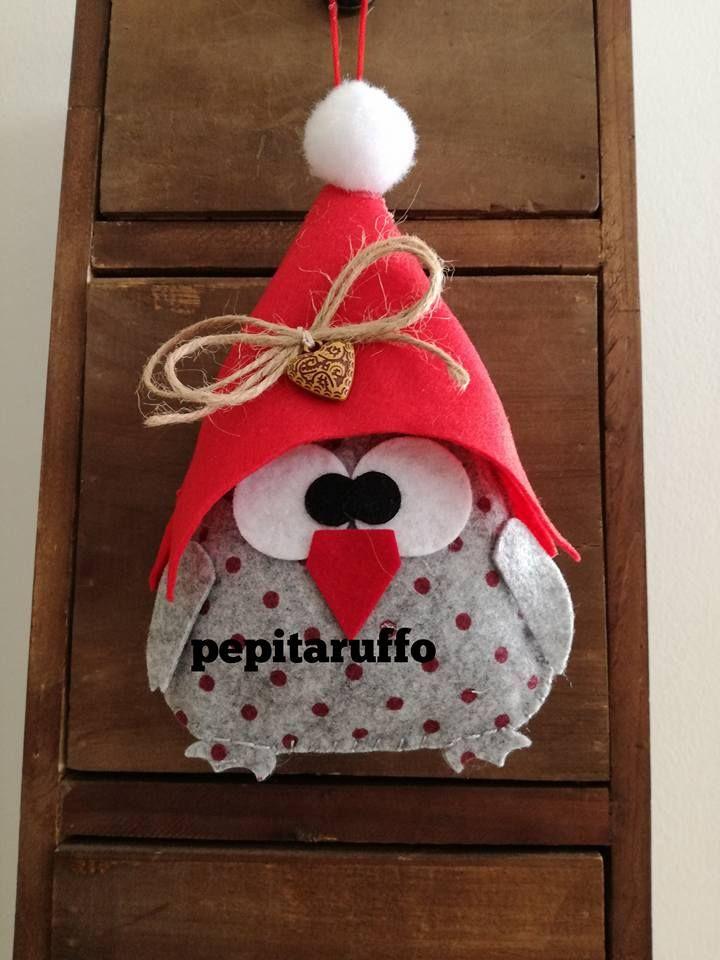 Regali Di Natale In Pannolenci.Gufetto Natalizio Feltro E Pannolenci Gufi Pinterest Felt