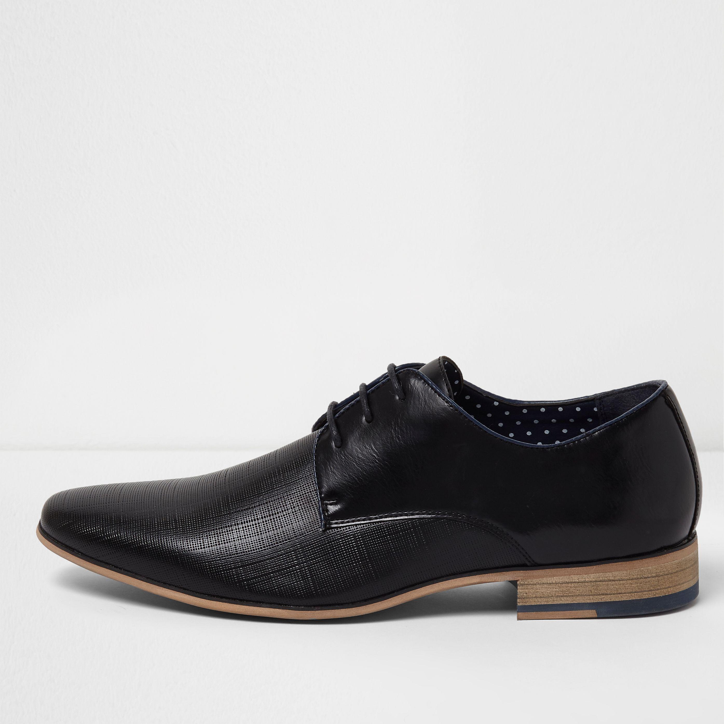 Boy/'s Black Vegan Leather Lace-up Dress Shoes