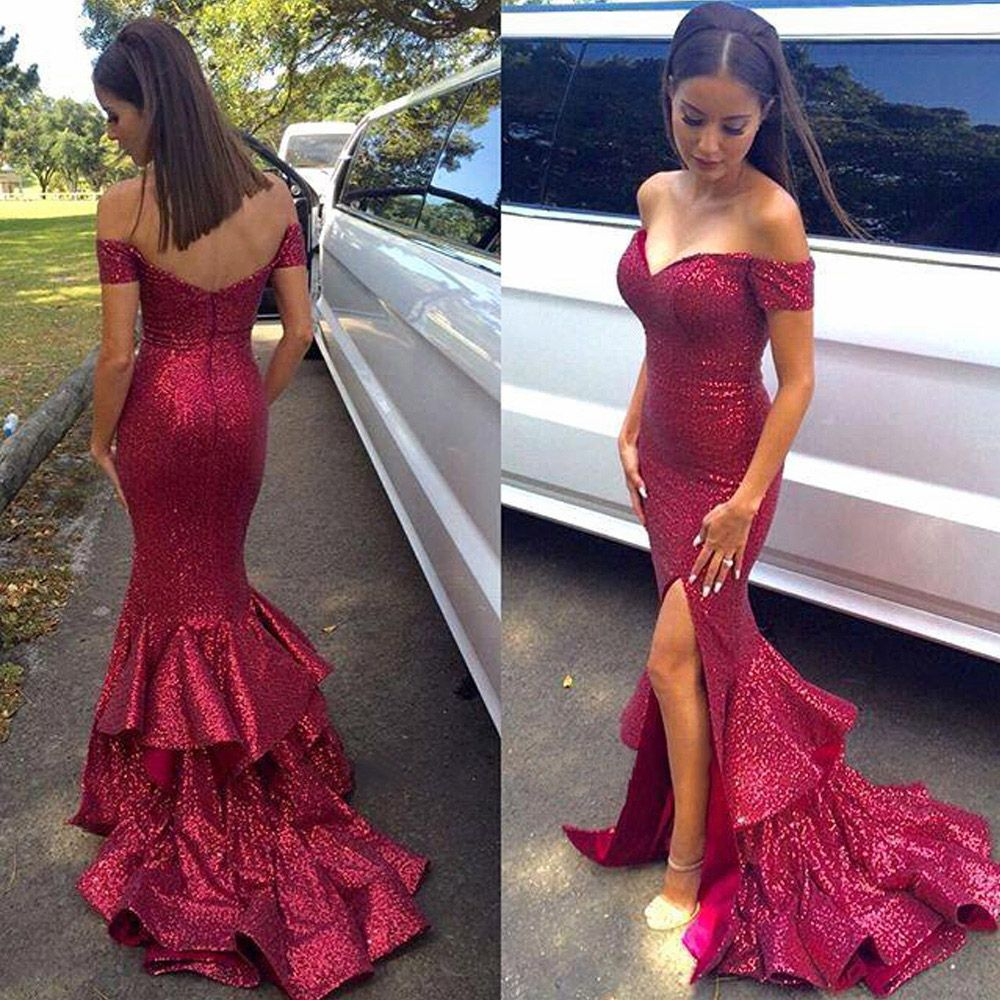 Sequined red prom dress with front split offtheshoulder prom