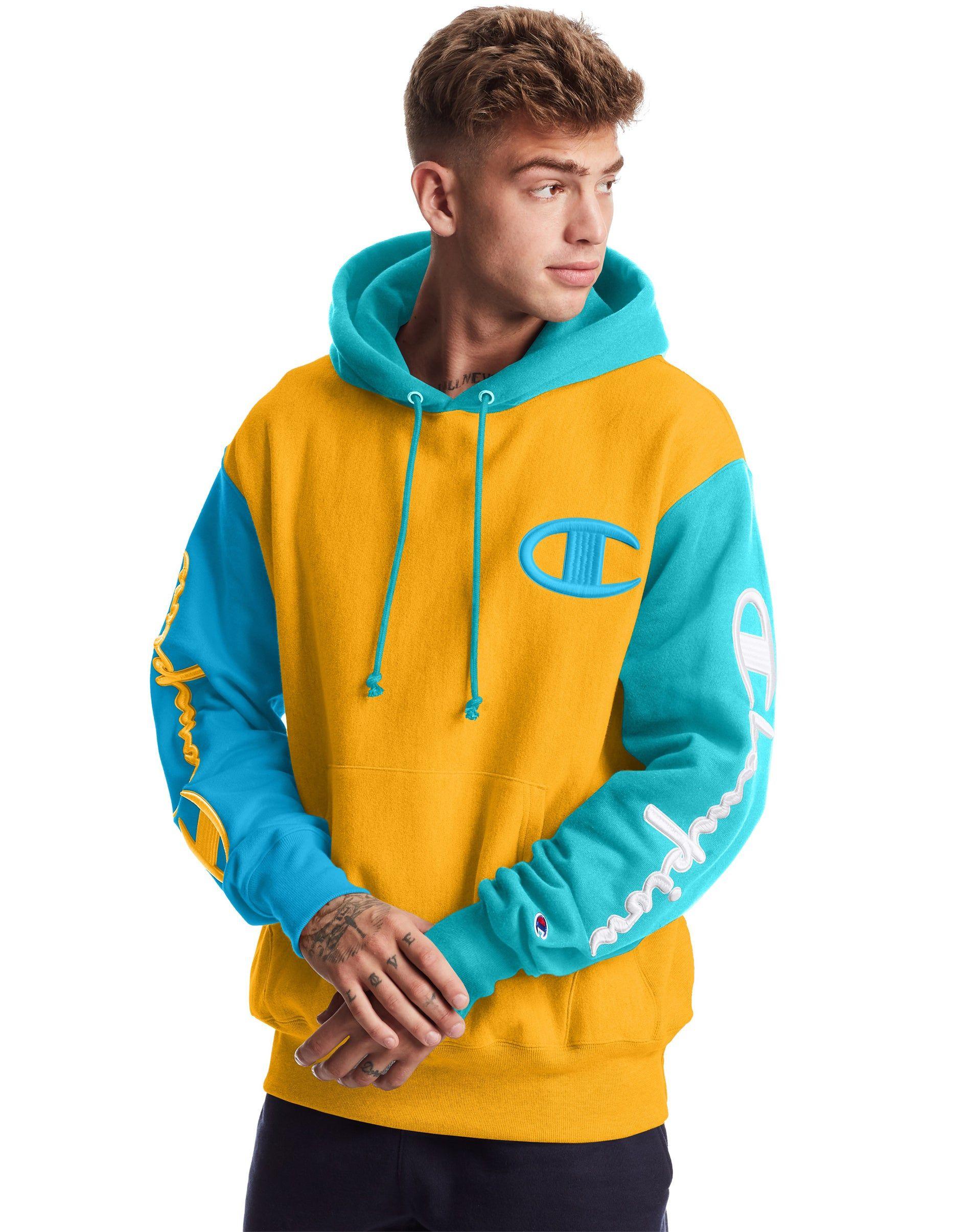 Men S Champion Life Reverse Weave Colorblock Hoodie Citrus Blue Horizon Deep Blue Water Trendy Hoodies Hoodies Men Style Stylish Hoodies [ 2410 x 1900 Pixel ]