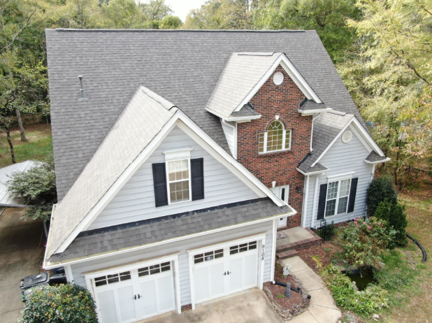 Charlotteroofing Home Inspiration Beautiful Brick Accent And Black Shutters Residential Roofing Gutters Roofing
