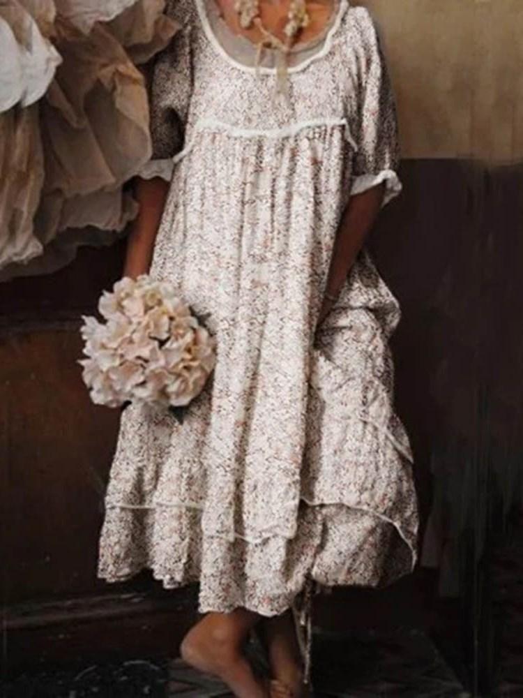 Print Round Neck Half Sleeve Pullover Floral Dress