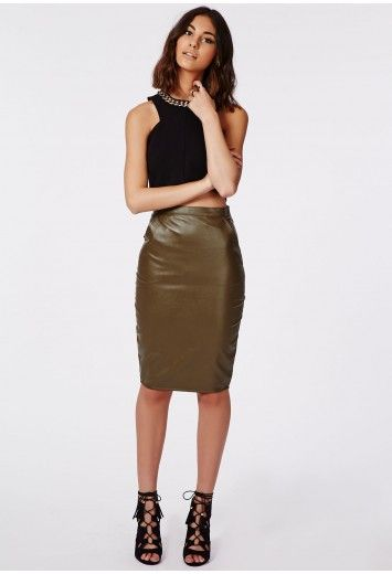 Missguided - Mariota Faux Leather Midi Skirt Khaki | My Style ...