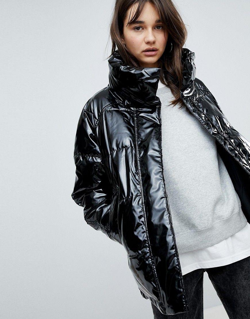 Monki Vinyl Padded Jacket Black in 2019 | Padded jacket