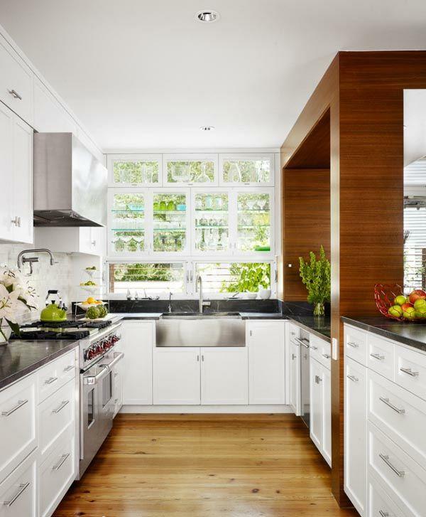 küchenlösungen kleine küchen holzmöbel dunkle oberfläche | Divine ...