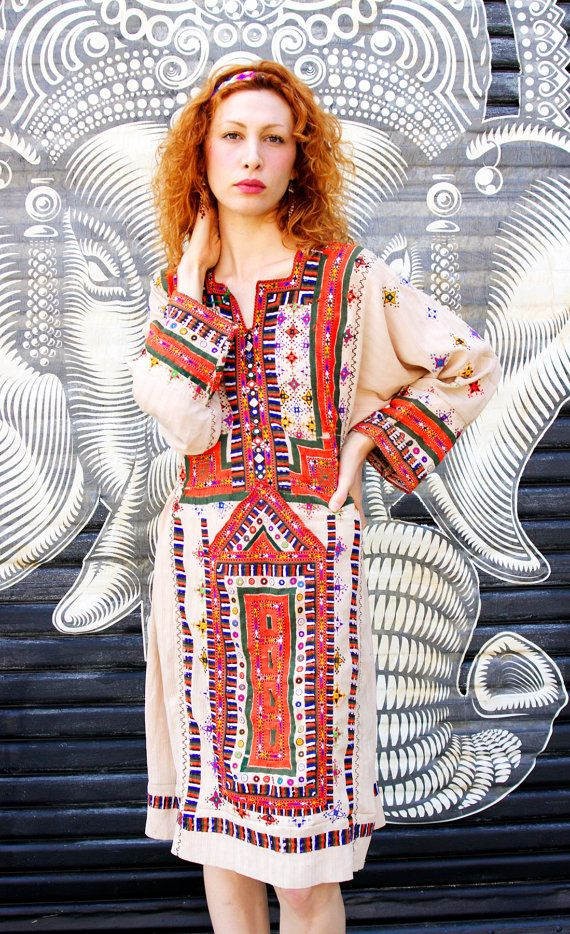 2e94a645f Vintage Sand Afghanistan Embroidered Ethnic Gypsy Bohemian Dress ...