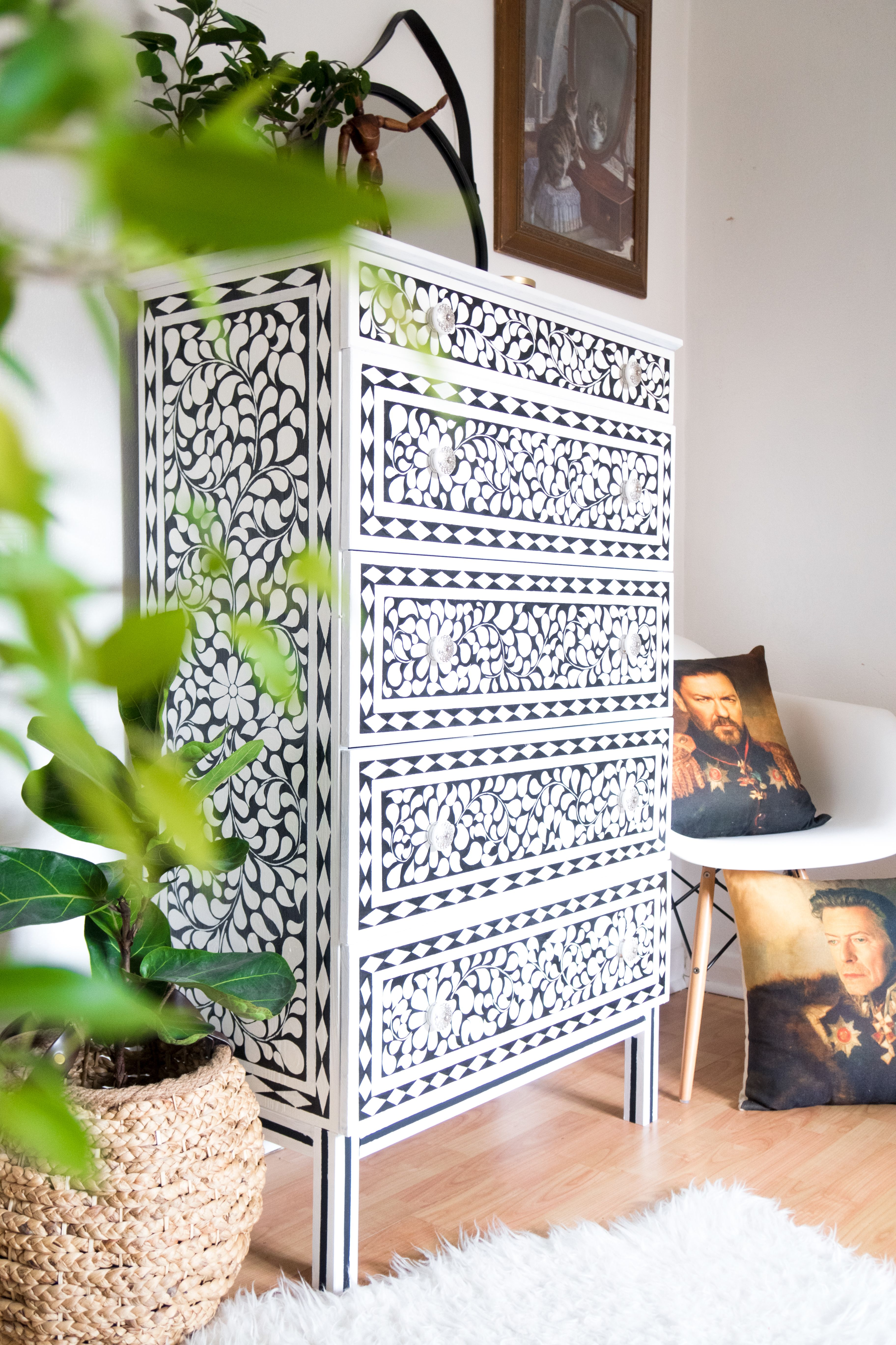 Cityscape Bliss - DIY faux bone inlay chest of dra