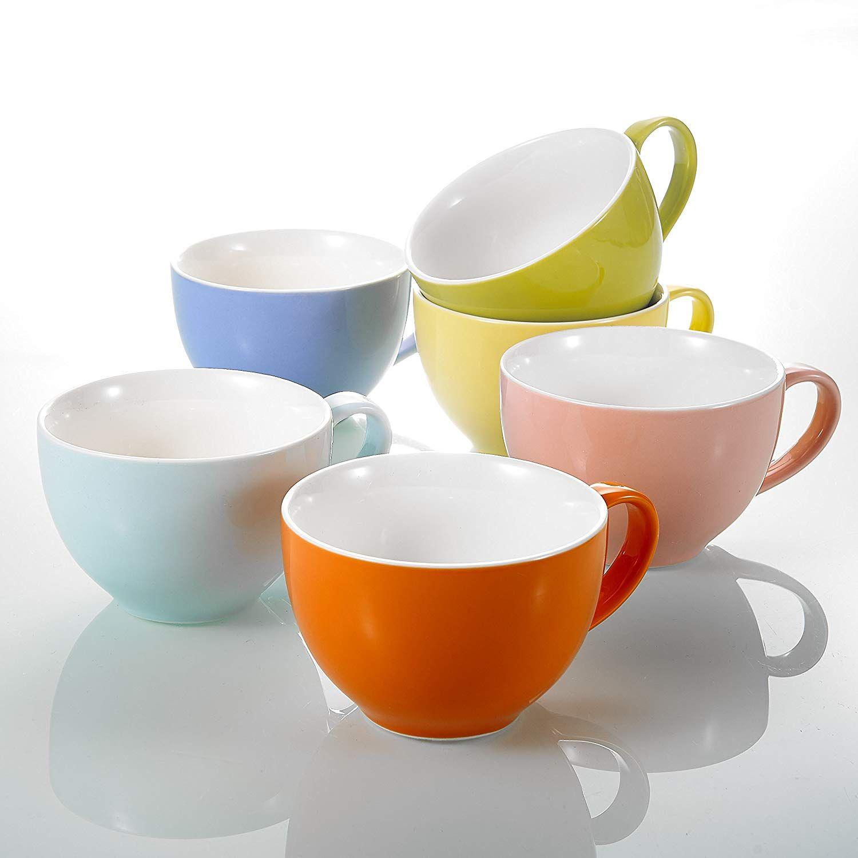 6er Set Kaffeetasse 250 ml bunt Porzellan Kaffeebecher Tasse Becher farbig