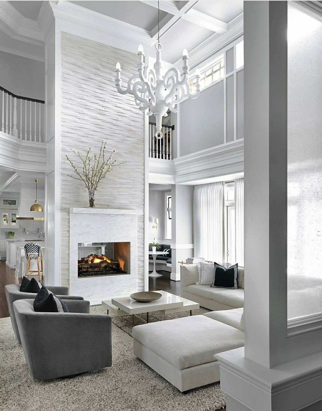 White Drawing Room: White & Gray Color Palette! I'd Put A Different Chandelier