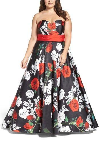 Plus Size Formal, MAC Duggal Rose Print Ballgown ...