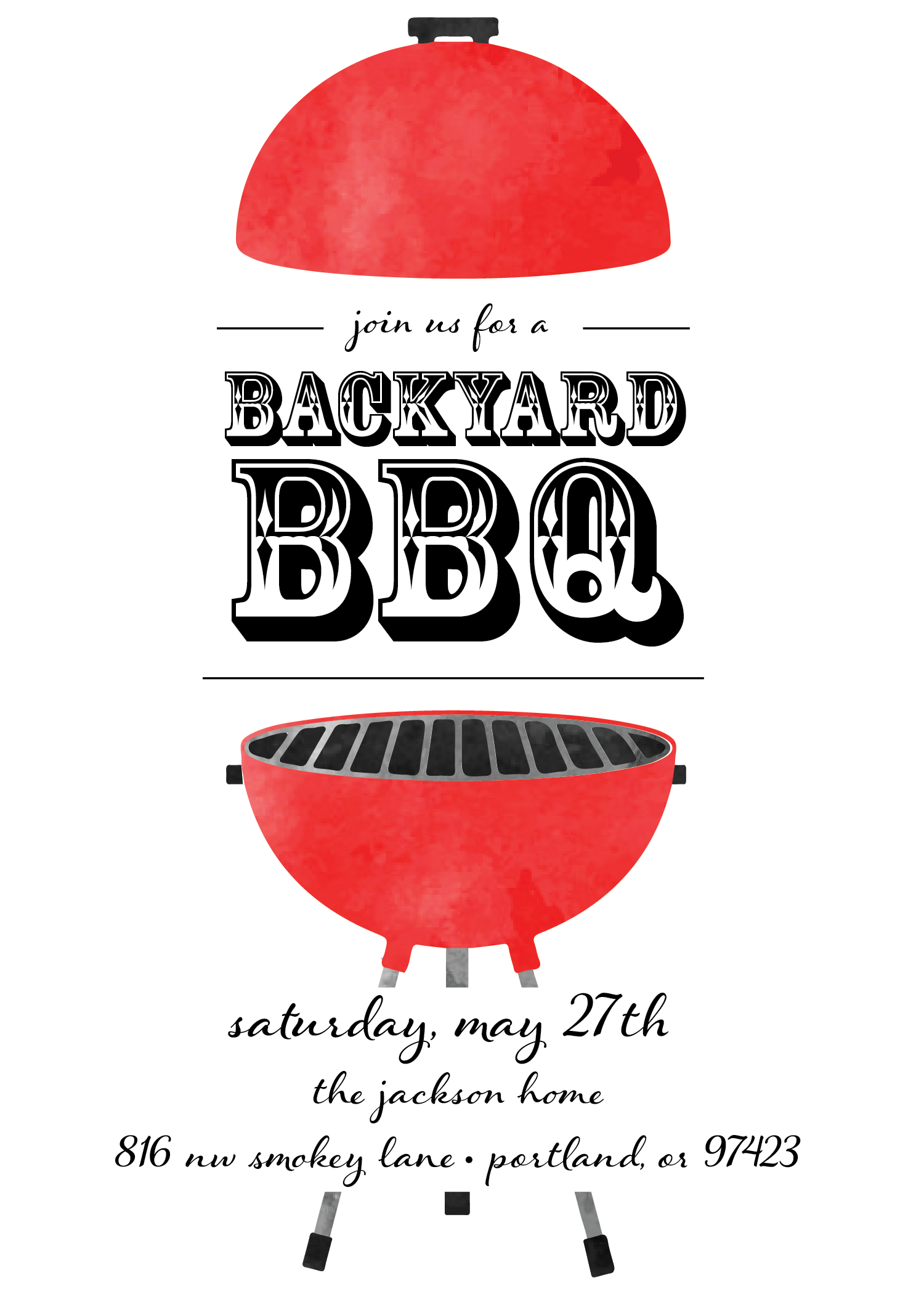 Weekend BBQ Party / Memorial Day / Barbecue Invitation / Backyard ...