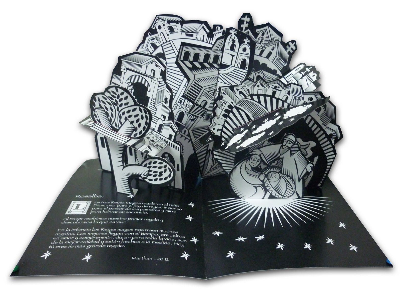 Tarjeta Pop Up Interior Nacimiento De Navidad Y Reyes Magos Diseño Ilustración E Ingeniería En Papel Marthan Book Art Pop Up Book Paper Engineering