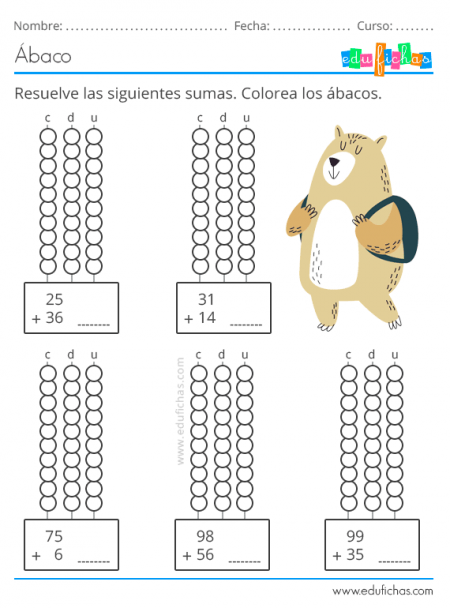 Fichas Con Abaco Actividades Para Ninos Aprender Calculo En 2020 Estrategias Para Ensenar A Leer Actividades Blog De Matematicas