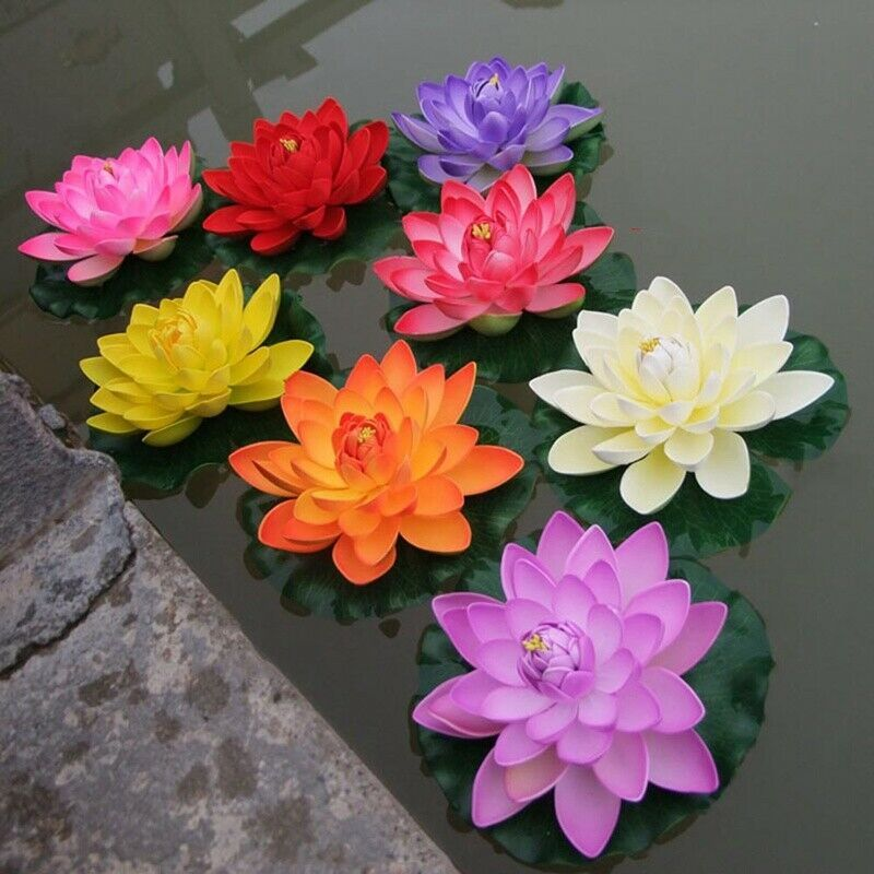 2 4pcs Artificial Water Floating Flower Pond Fish Plant Garden