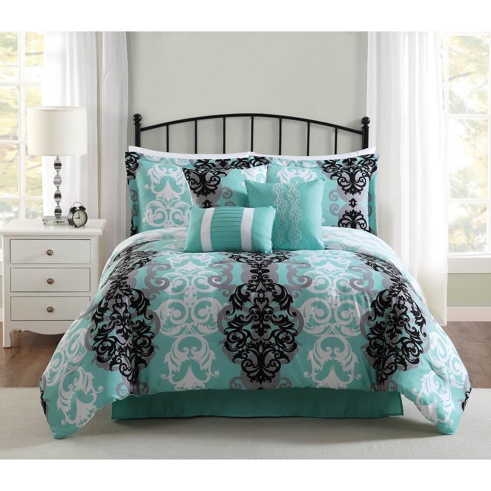 Studio 17 Downton Black Grey Aqua 7 Piece Full Queen Comforter Set