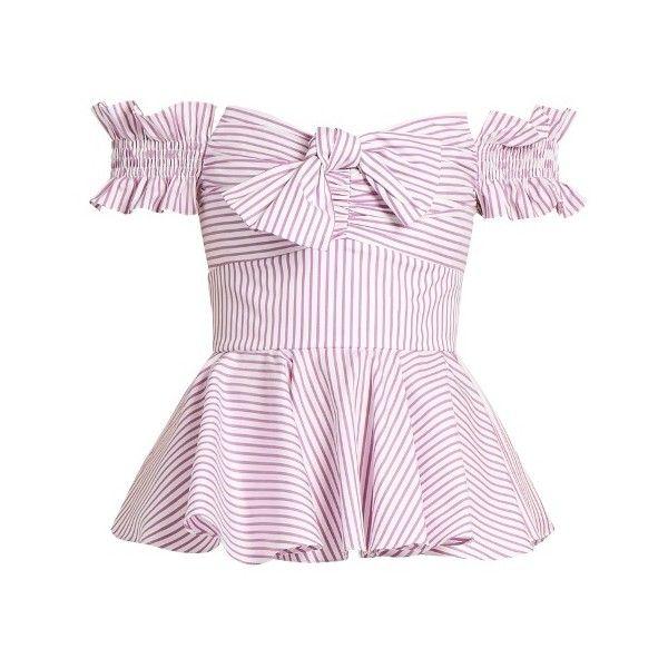 ba0228493f4ba7 Caroline Constas Artemis off-the-shoulder cotton top ( 395) ❤ liked on Polyvore  featuring tops