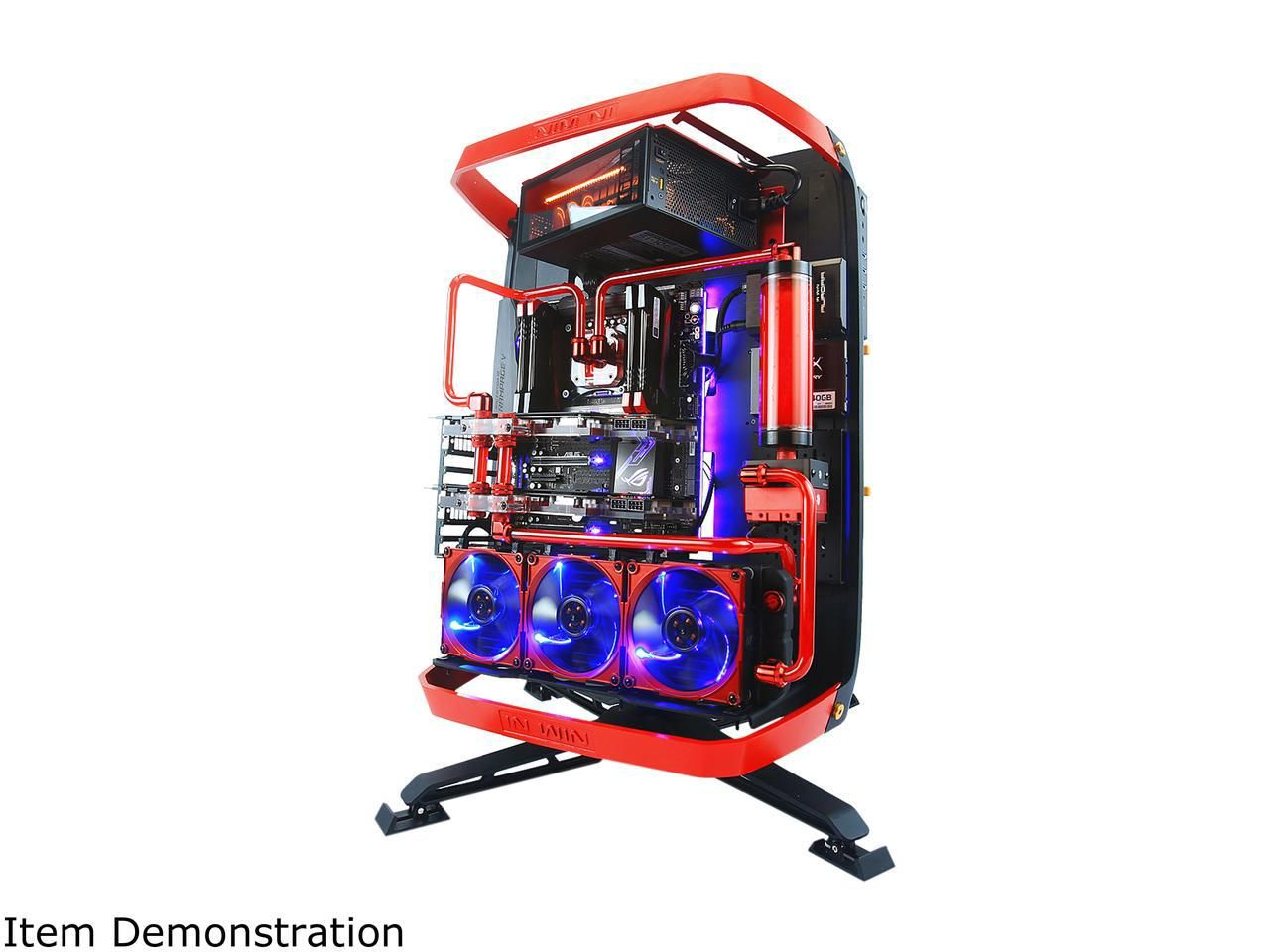 IN WIN X-Frame 2.0 Black/Red Aluminum Open Air Chassis Computer Case ...