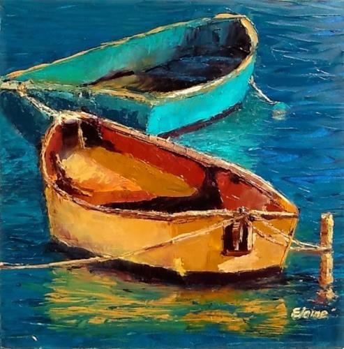 Acrylic painting Row boat Original art