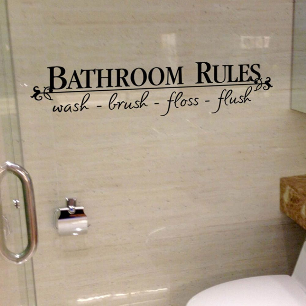 Bathroom rules quote bathroom wall decals stickers vinyl art home