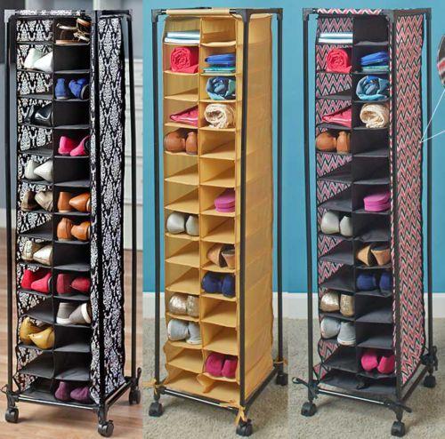 Shoe Rack Organizer Storage 28 Pair Closet Rolling Tower Portable Space Bedroom Shoe Rack Organization Shoe Rack Wood Shoe Rack