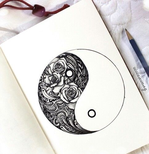 roses, black and white, ying yang, art, draw