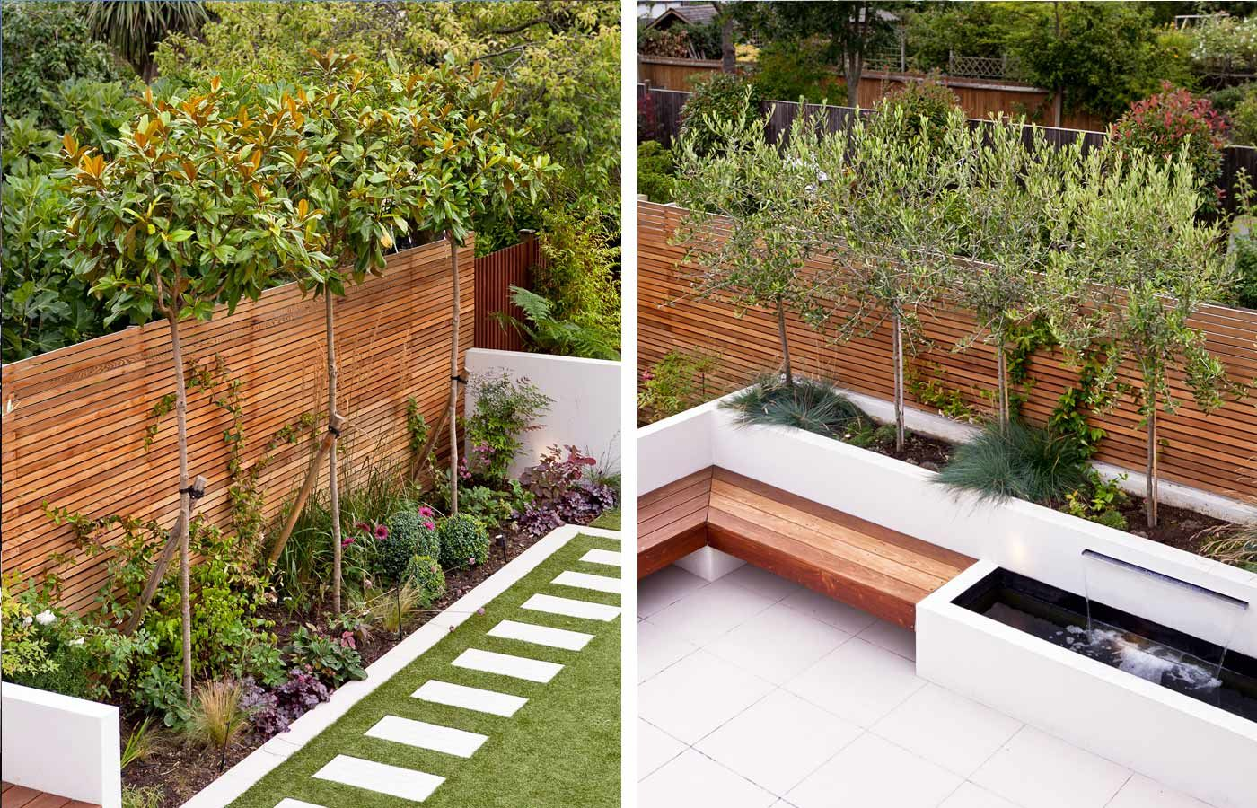 family garden divided into three areas with childrens play area at far end - Garden Ideas Long Narrow