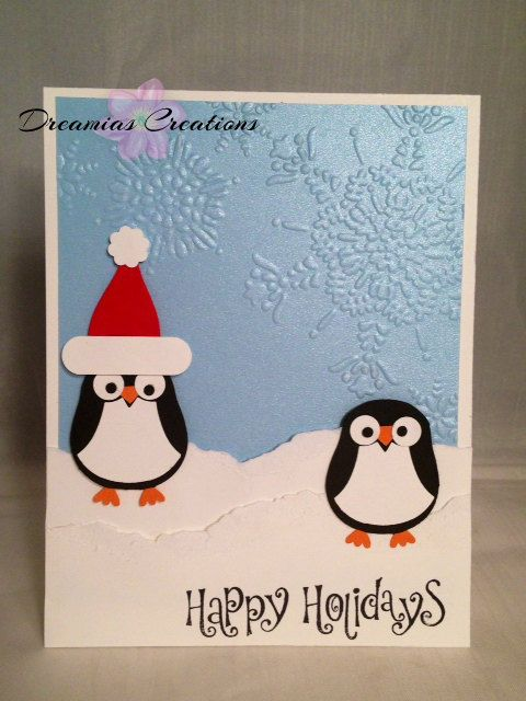 Penguin Christmas Cards Homemade.Hand Made Christmas Card With Penguins By Dreamiascreations