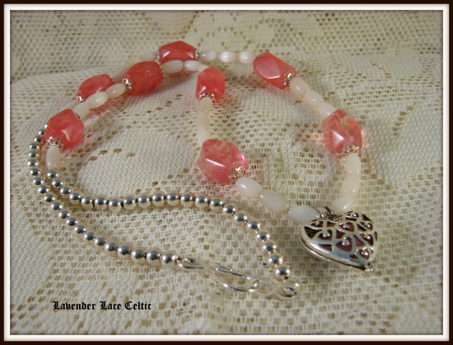 Rose quartz and sterling silver heart necklace and earrings fun