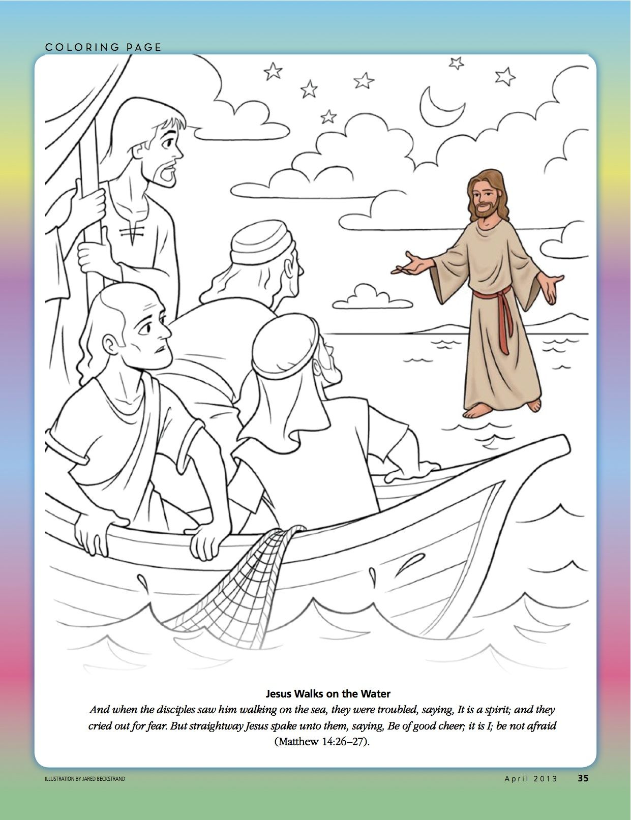 Another Coloring Page From The Friend Jesus Walk On Water