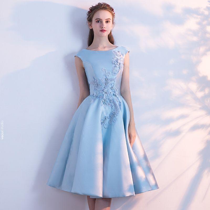 Chic / Beautiful Sky Blue Homecoming Graduation Dresses ...