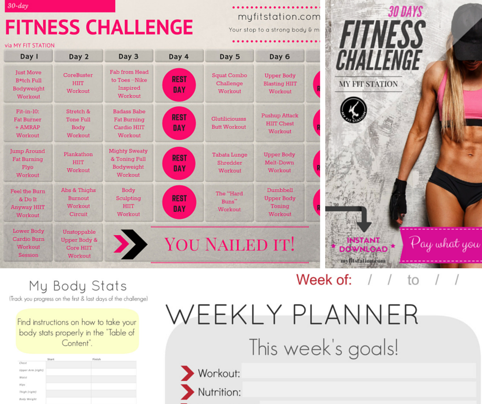 30 Day Fitness Challenge A Full Workout Calendar With Daily Printable Sheets Functional Exercises Using Mostly Bodyweight Some