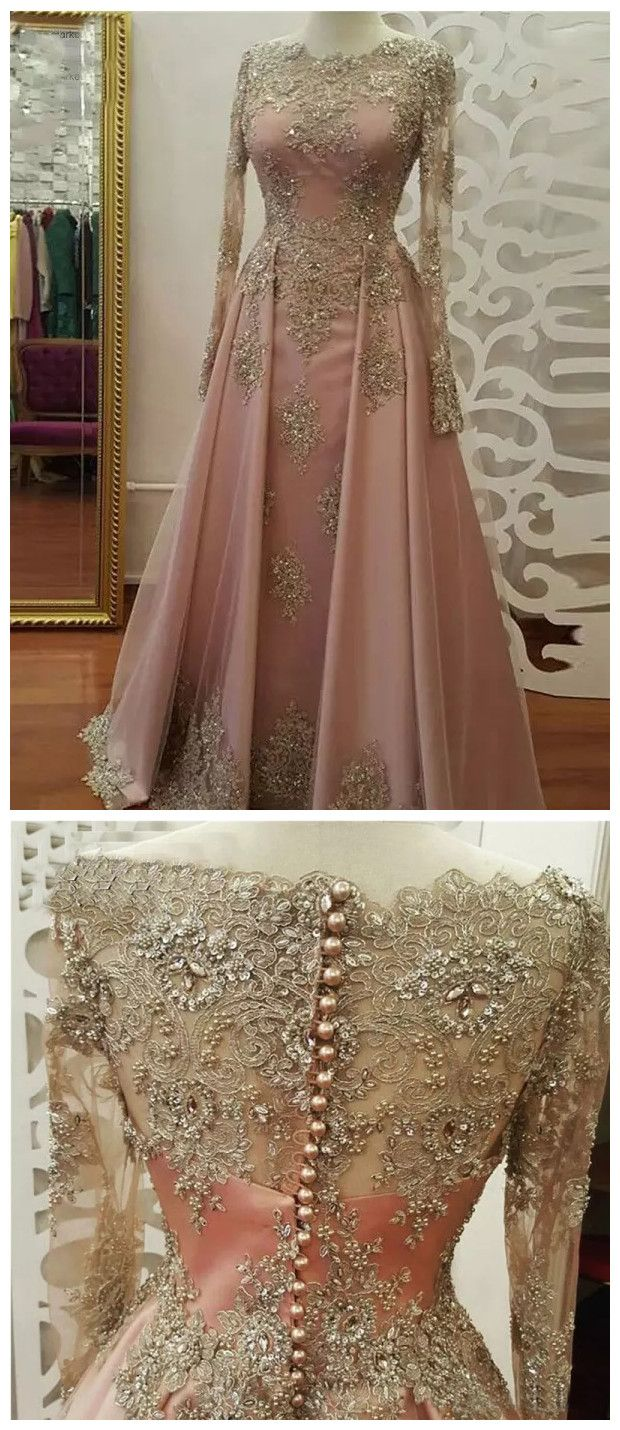 aline prom dresses scoop long sleeve pink applique long prom