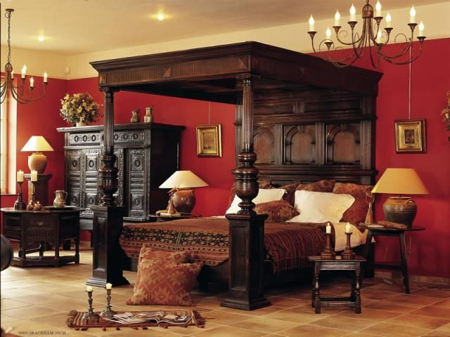 Red Victorian Bedroom tradisional furniture bed room decorations with modern accents