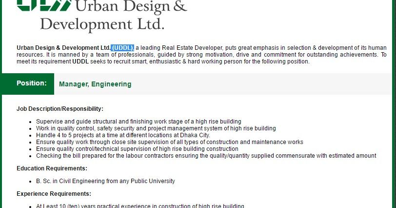Engineer Manager Job Description Urban Design Development Ltd