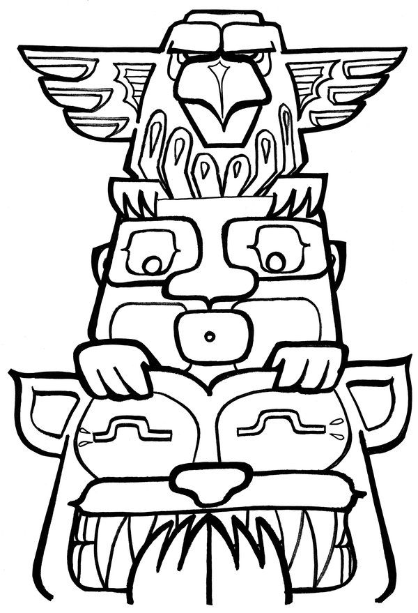 Free Printable Totem Pole Coloring Pages For Kids | Indianerin