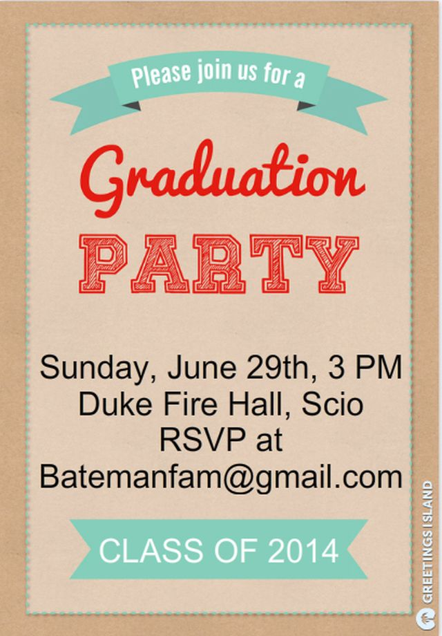 This is a 5x7 flat graduation invitation that can be printed ...