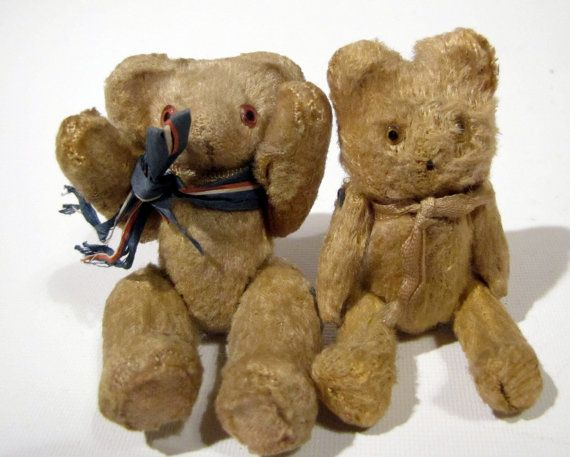 Miniature Teddy Bear Set Mohair Bears Jointed Made by CabinOn6th, $65.00