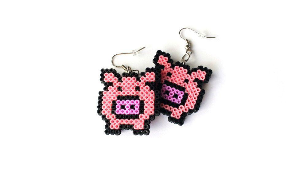 Pink Pig Earrings - Mini Perler Beads, Mini Hama Beads, Piggie, Piggy Earrings, Hook or Clip-On, Pixel Jewelry by 8BitEarrings on Etsy https://www.etsy.com/uk/listing/263879373/pink-pig-earrings-mini-perler-beads-mini