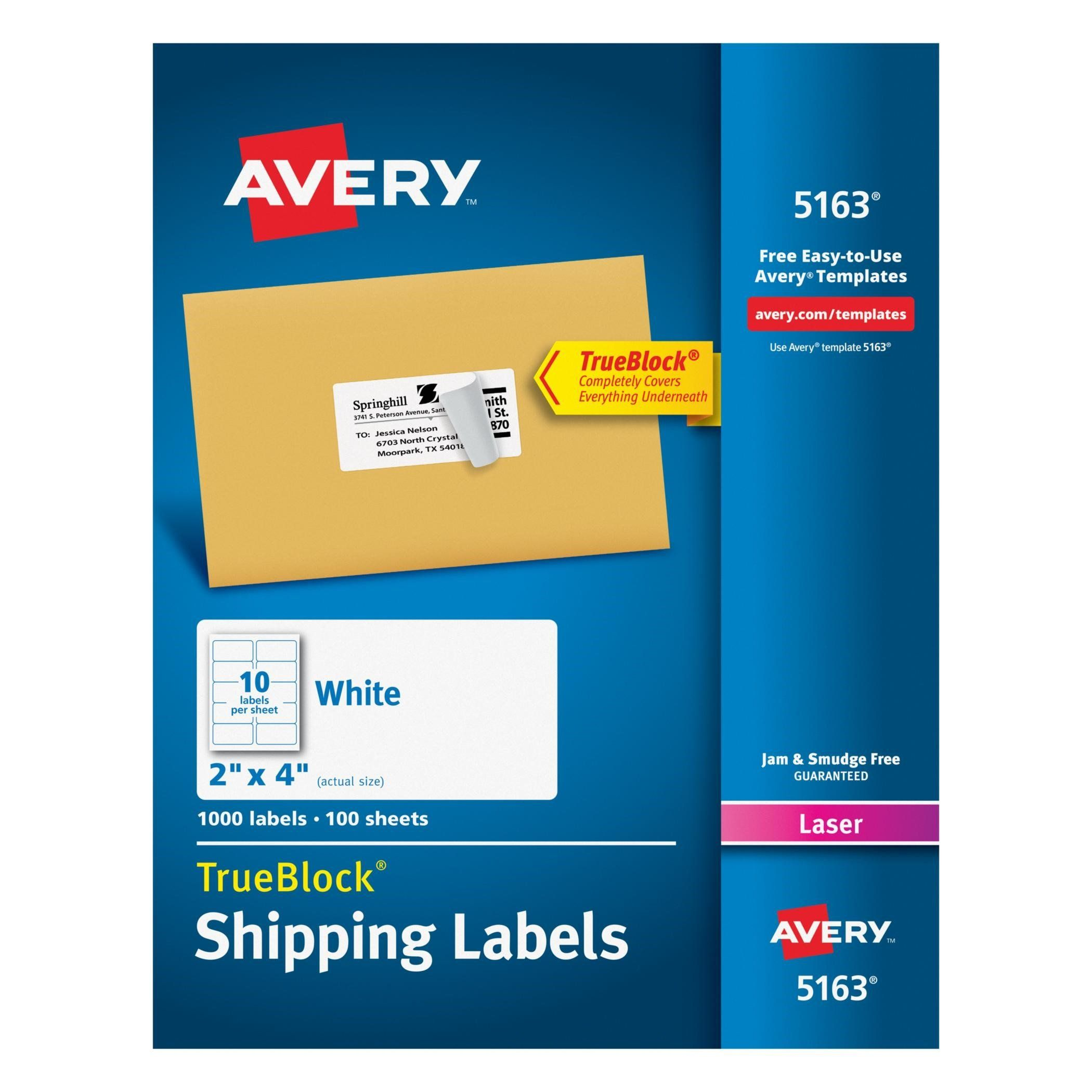 Avery White Shipping Labels w/ TrueBlock Technology for