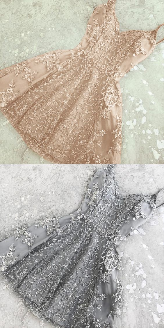 A-Line Spaghetti Straps Champagne/Grey Short Prom Homecoming Dress with Beading