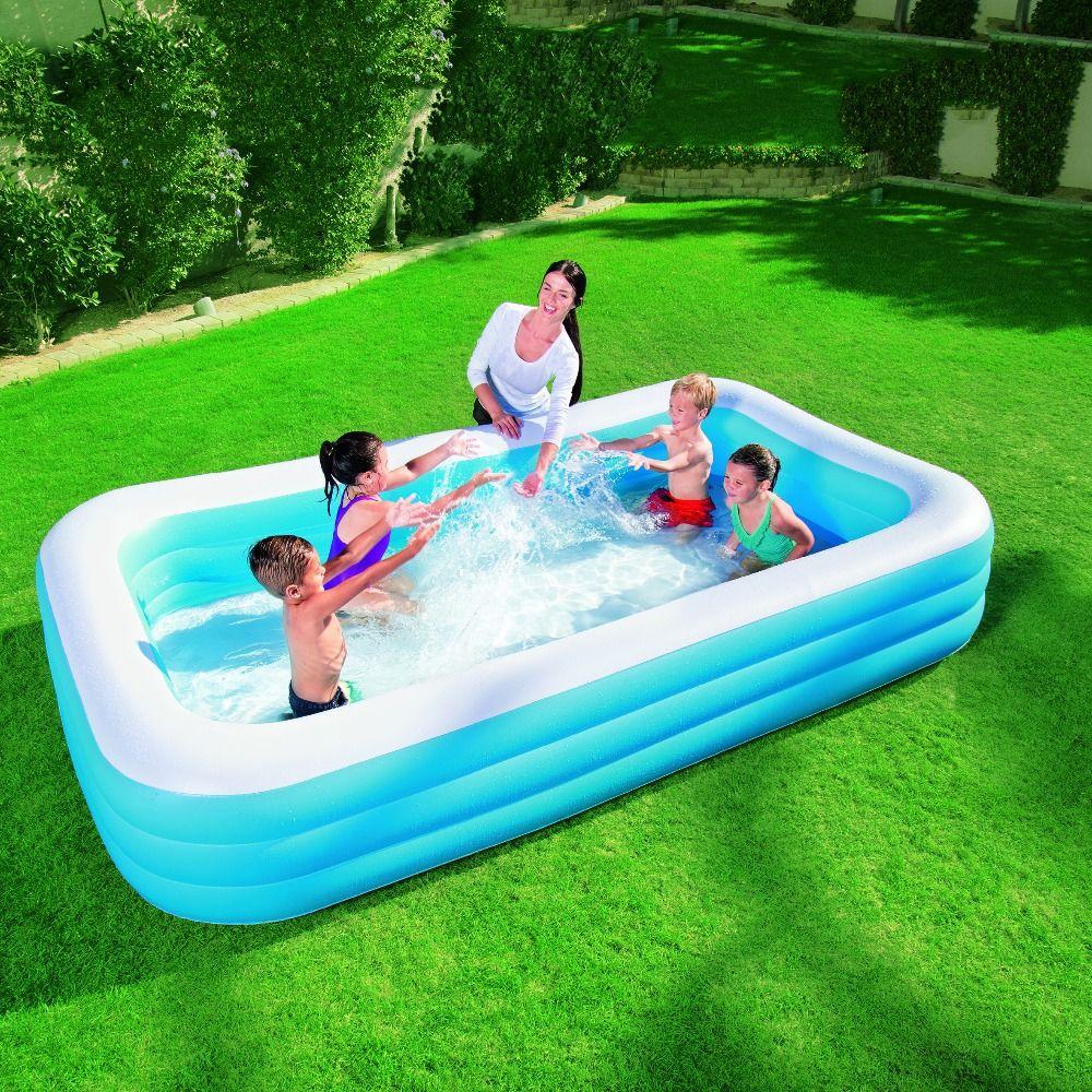 bestway genuine 54009 three ring rectangular inflatable pool adult baby bath pool ball pool b32 - Rectangle Inflatable Pool