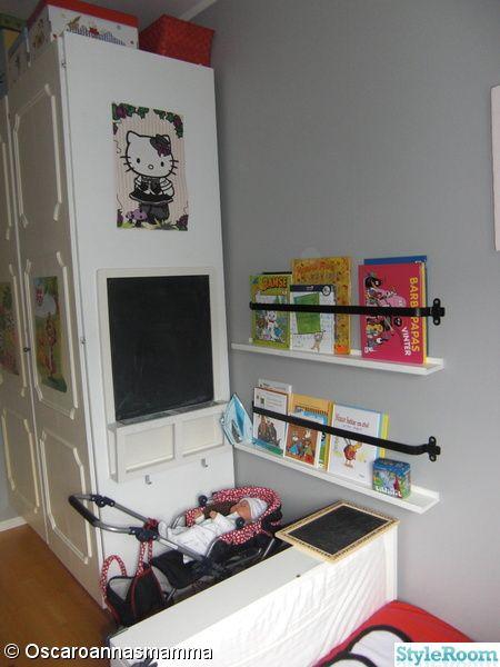 Bookstand made from Ikea Stripa shelf and kitchen utility rods