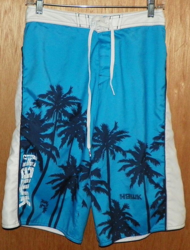 2814e620d9 Tony Hawk Board Shorts Swim Trunks Boys Size 20 Palm Trees Blue Black White  #TonyHawk #BoardShorts