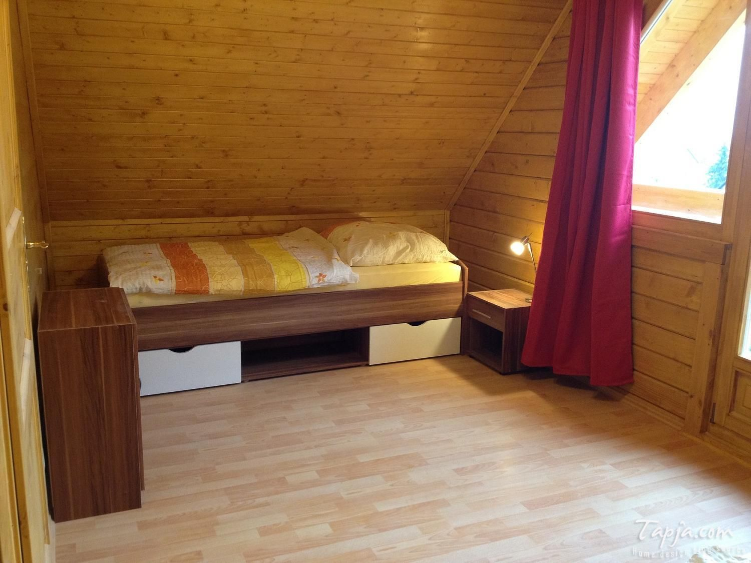 Wooden Wall Interior Panel Attic Bedroom Small Bed