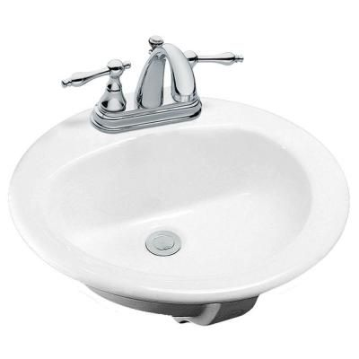 Glacier Bay Drop In Bathroom Sink In White