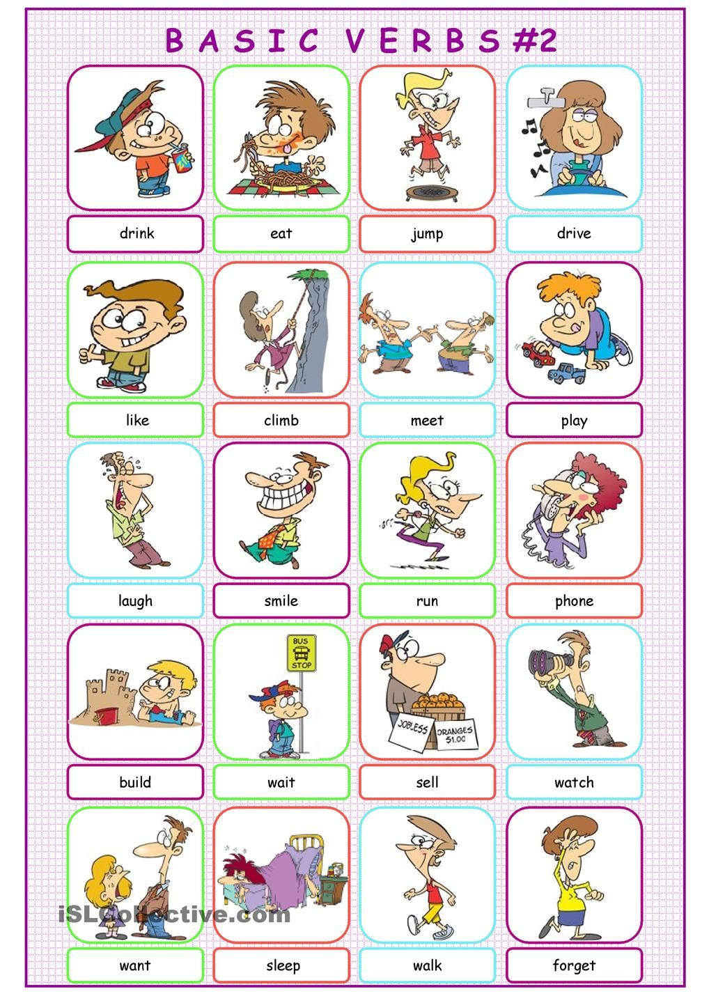 Basic Verbs Picture Dictionary#2 | action verbs | Pinterest | Englisch