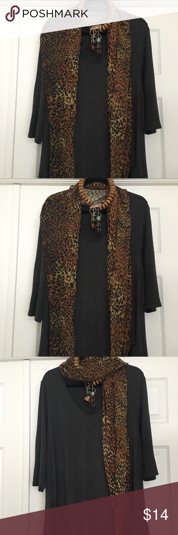 Neck scarf Sheer leopard print scarf.  Shown here with African inspired necklace also in my closet. NWOT Accessories Scarves & Wraps