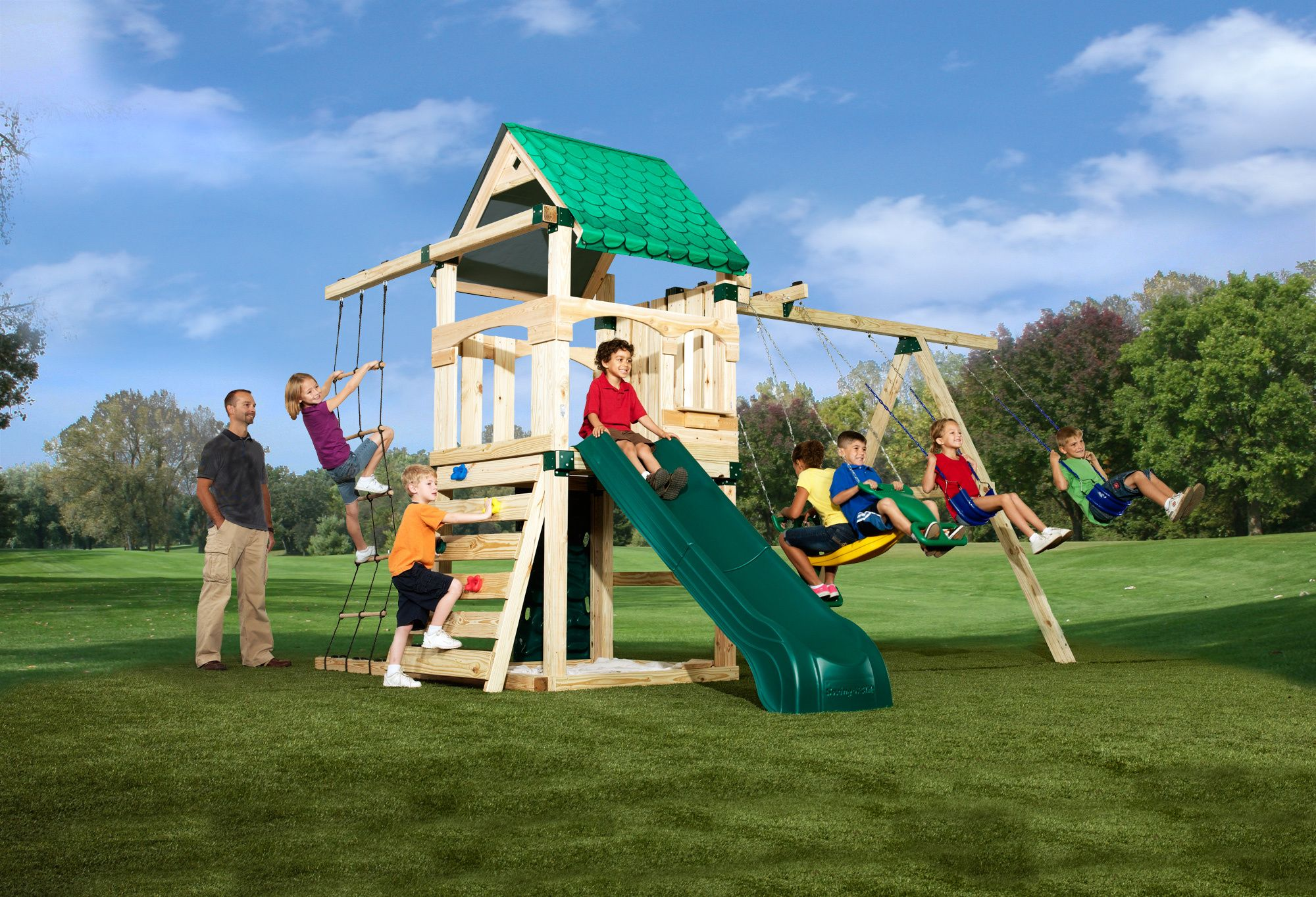 Treasure Trove Swing Set With Wood Roof Canopy Kid The O Jays And